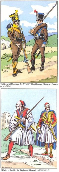 _Voltigeur et chasseur des 3e et 4e Bataillon des chasseurs corses 1815 _Officier et Fusilier du régiment Albanais 1808 -1814