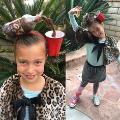 Whacky and crazy hair day! Soda bottle style. Girls hair styles. Fun hair.
