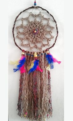 Dream Catcher Colorful Blue Pink Yellow Jute by byCamilleDesigns