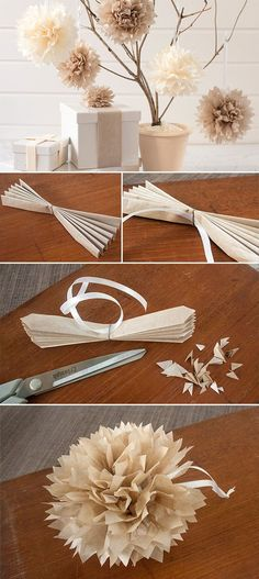so cute for the present table!! spray paint a branch gold and the paper our wedding colors! diy paper flowers for rustic wedding ideas