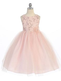 Beautiful blush pink flower girl dress. http://www.justuniqueboutique.com/new-arrivals/sequin-dress-with-tulle-skirt.html