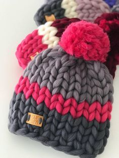 Hand Knit Beanie in Pink Big yarn Knit Womens Winter Hat with