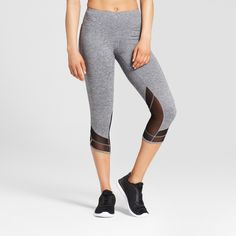 328f5f646ee75 Women s Freedom Mid-Rise Mesh Insert Capri Leggings - C9 Champion Dark  Heather Gray Xxl