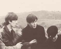 """George showing you how NOT to act near a road"" ""But that concerned look on Paul's face <3"" ""Ringo attempt to save john tho aw"" ""When John looks at Paul at the end"""
