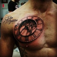 3D Tattoo clock with font - http://tattootodesign.com/3d-tattoo-clock-with-font/ | #Tattoo, #Tattooed, #Tattoos