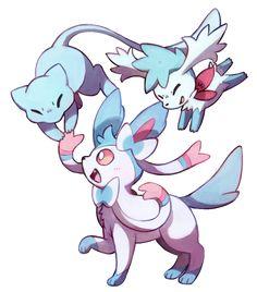 Shiny Mew, shiny Sylveon, and blue Shaymin