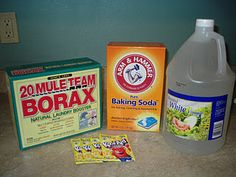 Dishwasher Detergent                        2 cups of Borax  2 cups of Baking Soda  4 small packets of sugar freelemonade Kool-Aid (you can also use 4 tablespoons of citric acid--if you can find it)  White Vinegar