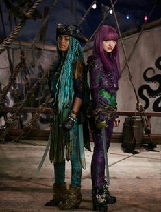 Dove Cameron as Mal the daughter of Maleficent and China Anne McClain as Uma the daughter of Ursula ! In Descendants 2 Disney Descendants 2 Cast, Dove Cameron Descendants, Descendants Wicked World, Descendants Characters, Disney Descendants 3, Descendants Songs, High School Musical, Cameron Boyce, Disney Channel Movies