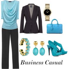Business Casual.  Black shoes instead of turquiose.  That's just too flashy.