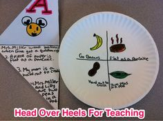 "Great bulletin board idea: food idioms explained on ""napkin"" and illustrated on the paper plate. Paper Plate Crafts, Paper Plates, Class Bulletin Boards, Teaching Reading, Teaching Ideas, Context Clues, Head Over Heels, Classroom Language, Best Teacher"