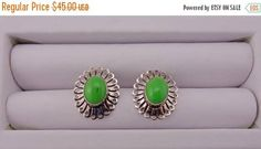 FREE SHIPPING  Sterling Silver and Vintage Green Turquoise