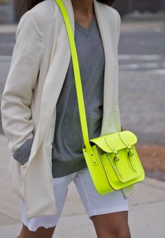 neon and neutrals-good combo.  Just keep the neon in low doses.
