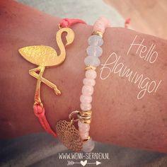 Armcandy flamingo €13,90 www.wenn-sieraden.nl http://www.wenn-sieraden.nl/armcandy/flamingo-armband-goud-coral
