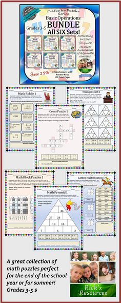 This is the ultimate MATH PUZZLES bundle. You can save 25% by purchasing this bundle over the individual prices. The bundle includes all six sets in the popular Productive Puzzles Series and includes over 175 pages including answer keys. The puzzles cover grades 3-5. These are great activities for the end of the school year or for some productive summer fun! $