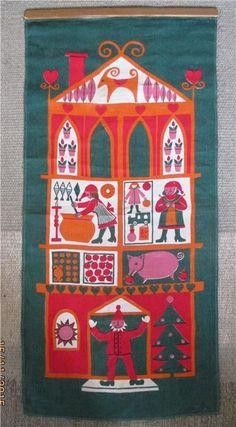Retro Julbonad. Tryck på linne i storlek 38 x 80 cm