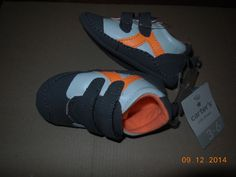 New CARTER'S Infant Boy's Sneakers Size 3-6 Months Velcro Gray Orange Crib Shoes #Carters #CribShoes
