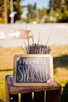 Sparklers at an outside reception!