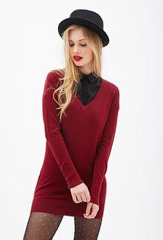 Red Longline Long V Neck Sweater | FOREVER21 - 2000102352 $15