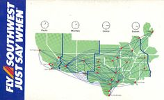 Southwest Airlines Timetable-route-map-1988