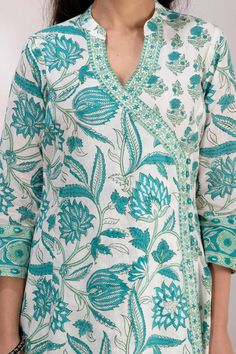 Kurta Designs Women, Blouse Designs, Angrakha Style, A Line Kurta, Couture Embroidery, Neck Design, Cotton Style, Salwar Suits, Kurtis