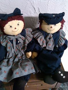 Raggedy Ann and Andy Doll Set - SALE