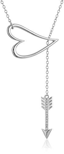 """Sterling Silver Cubic Zirconia Open-Heart and Arrow Lariat Necklace, 16.5""""+2"""" Extender Amazon Collection-$15.00 http://www.amazon.com"""