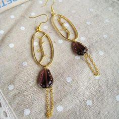 Gold Glamour Purple Stone Earrings