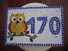 Número de casa de mosaico de pastilha de vidro com base em fibrocimento, R$ 91,80