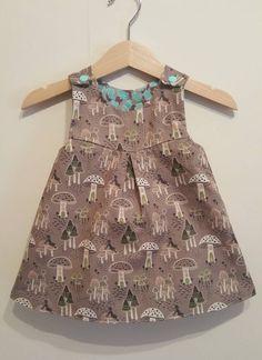 A Line Pinafore Dress Age 3-6 Months, Girls Dress, Fairy Dress, Toadstalls, Easter Present, Baby Shower