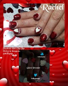 Gel extensions with gel polish overlay in Ruby Bedazzled. Freehand writing and glow hearts. Glow Powders from V's Nail Supplies. Nails by Elke's Top Tips
