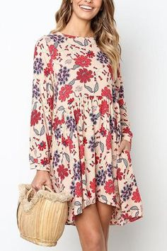 Sexy Women Dress Sides Pocket Spring Casual Pullover Shopping Mini Floral O Neck Holiday Summer Long Sleeve Daily Beach Moda Floral, Leggings, Swing Dress, Smock Dress, Boho Dress, Dress Red, Dress Brands, Dress For You, Casual Dresses