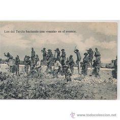 GUERRA DE MARRUECOS LOS DEL TERCIO HACIENDO UNA RAZZIA EN EL AVANCE