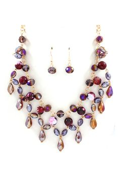 Andrea Necklace in Amethyst Agate and Crystal