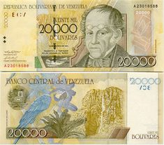 20.000 Bolívares Venezuela 2001 Simón Rodríguez (Writer and Philosopher) on front
