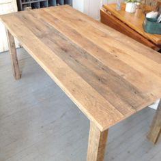 farmhouse table made from old pine barn boards