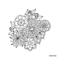Doodle art vector flowers. Zentangle black and white flowers. Hand drawn herbal decorative elements.