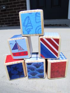 NAUTICAL. Wood Baby Blocks Personalized Birthday Gift. Baby Shower Decoration Boy Nautical Nursery. Red White and Blue.