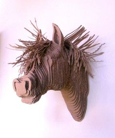 recycled cardboard horse head wall sculpture. Black Bedroom Furniture Sets. Home Design Ideas