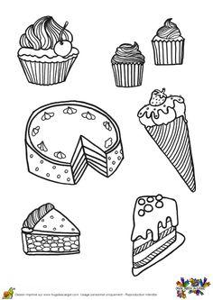 Des parts de gâteaux, des cupcakes et un cornet de glace à colorier