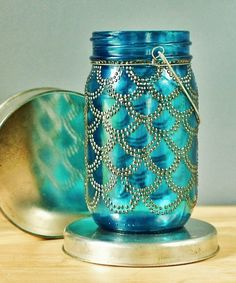 This Hanging Lantern Is Hand Painted In Henna Like Detail On Sea Glass Color Mason Jarsbeach
