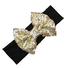 Smile Baby Girl Bling Bling Shining Headbands Elastic Hair Bands Kids Children Sequins Bow Hair Accessories HB728 * You can get more details by clicking on the image.