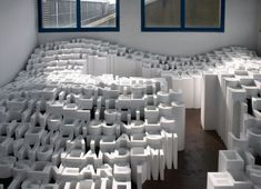 'towards a poetic morphology' installation by the cloud collective, a landscape of letters.