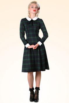 Collectif Clothing - 40s Lisa Retro Blackwatch Check Swing Dress