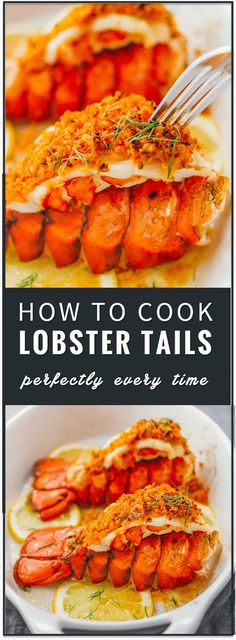 lobster tail Learn how to cook lobster tails with lemon garlic butter and a parmesan bread crumb topping via broiling in the oven. broil lobster tails, steamed, pastry, how to boil, baked Lobster Tail Oven, Easy Lobster Tail Recipe, Baked Lobster Tails, Broiled Lobster Tails Recipe, Cooking Lobster Tails, How To Cook Lobster, Lobster Tail Recipes, Grilled Lobster Recipes, Gastronomia