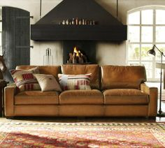 option if you were willing to look at sofas...looks like the leather you showed me...Turner Leather Sofa | Pottery Barn