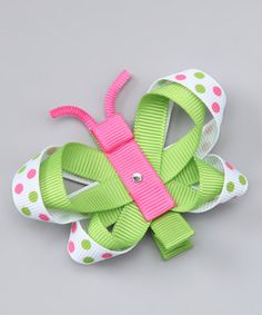 a look at this Green Polka Dot Butterfly Clip by Picki Nicki Hair Bowtique on today!Take a look at this Green Polka Dot Butterfly Clip by Picki Nicki Hair Bowtique on today! Hair Ribbons, Diy Hair Bows, Diy Bow, Bow Hair Clips, Ribbon Art, Ribbon Crafts, Ribbon Bows, Grosgrain Ribbon, Ribbon Sculpture