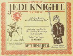 heres something that i find extremely cool its an official honorary jedi knight certificate from the 1983 release of return of the jedi - Jedi Knight Certificate Template