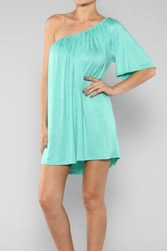 RingsAndNecklaces - One-Shouldered Dress in Mint, $60.00 (http://www.ringsandnecklaces.com/one-shouldered-dress-in-mint/)