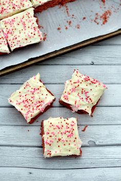 Scrumptious red velvet cookie bars with cream cheese frosting...oh my! Everyone will love this sweet treat!
