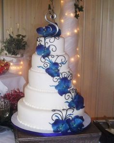 Blue orchid wedding cake.